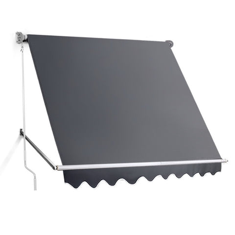 2.4m x 2.1m Retractable Fixed Pivot Arm Awning - Grey