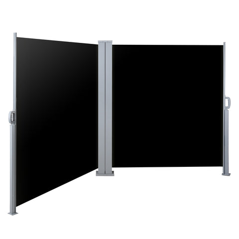 2X6M Retractable Side Awning Garden Shade Screen Panel Black