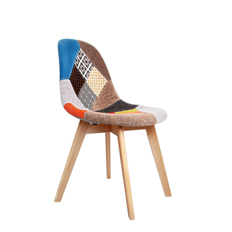 Set of 2 Retro Beech Fabric Dining Chair - Multi Colour
