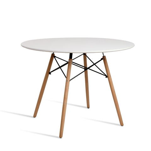 Dining Table 4 Seater Round Replica DSW Eiffel Kitchen Timber White