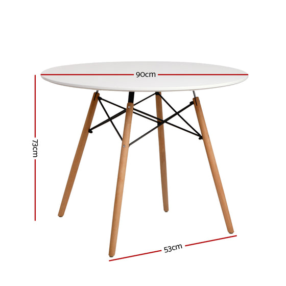 4-Seater Round Replica Eames DSW Dining Table Kitchen Timber White 90cm