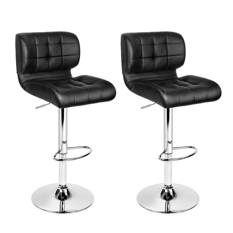 Set of 2 Leather Bar Stools