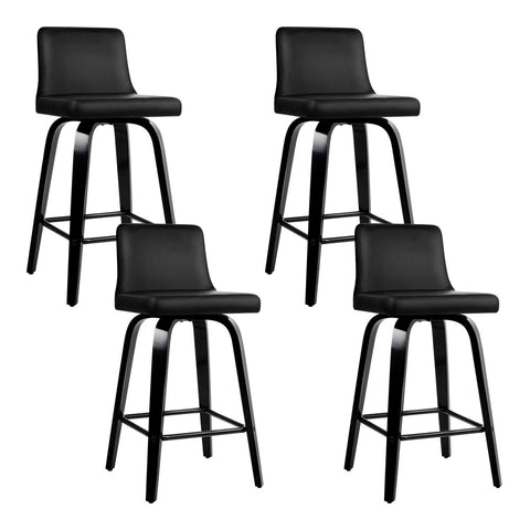 Set of 4 Wooden PU Leather Bar Stool - Black