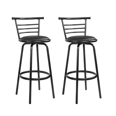 Set of 2 PU Leather Bar Stools - Black and Steel