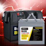 75Ah Deep Cycle Battery & Battery Box 12V AGM Marine Sealed Power Solar 4WD