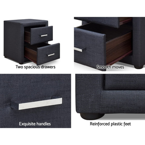 Moda Bedside table - Charcoal