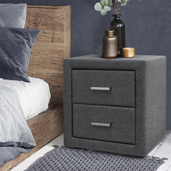 Fabric Bedside Table - Grey