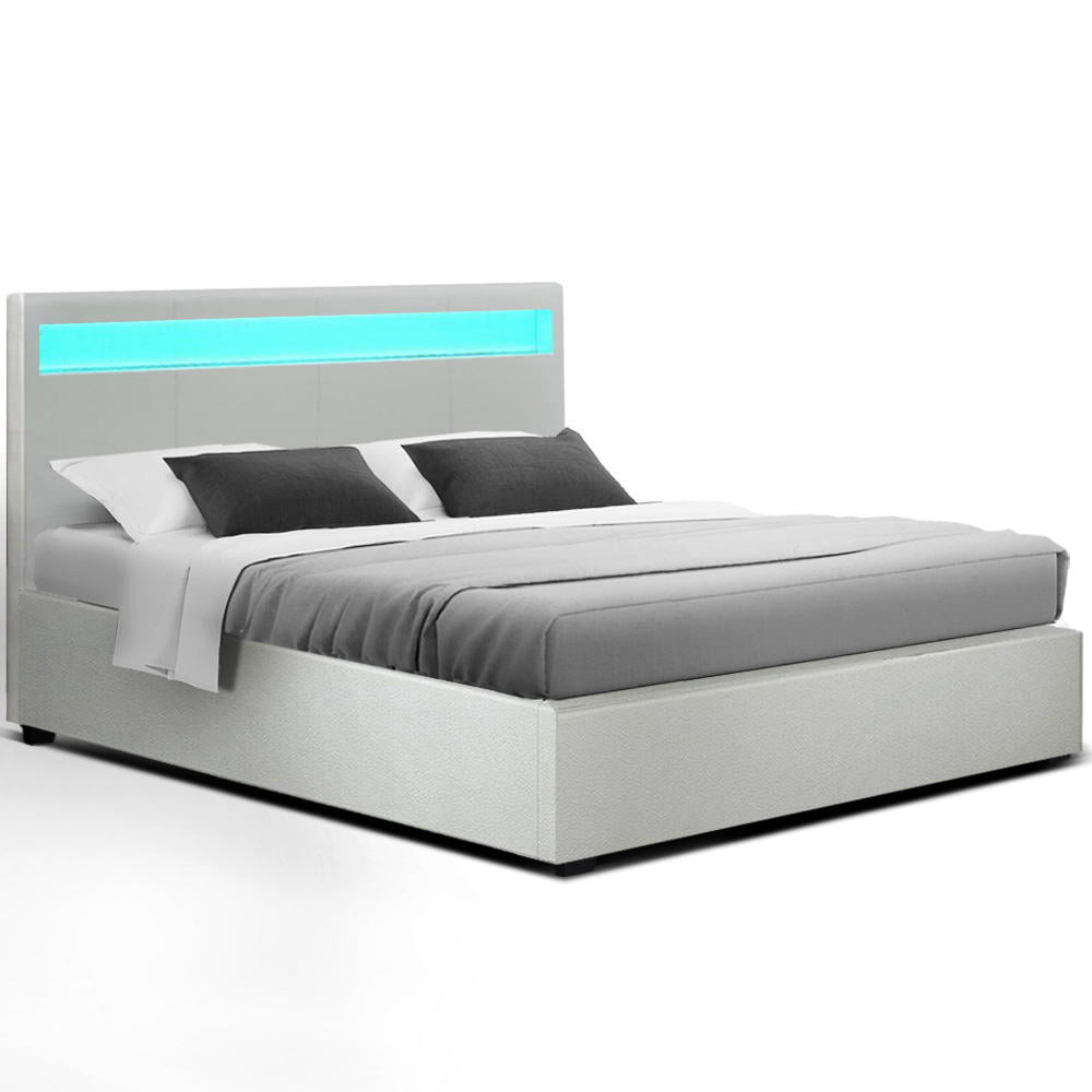 LED Bed Frame Queen Size Gas Lift Base With Storage White Leather