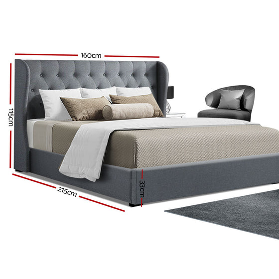 Queen Size Gas Lift Bed Frame Base With Storage Mattress Grey Fabric Wooden