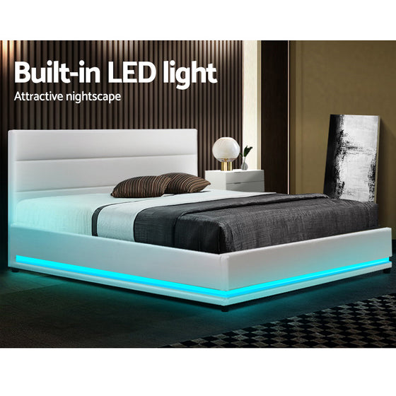 LED Bed Frame Double Full Size Gas Lift Base Storage White Leather