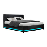 LED Bed Frame Queen Size Gas Lift Base Storage Black Leather