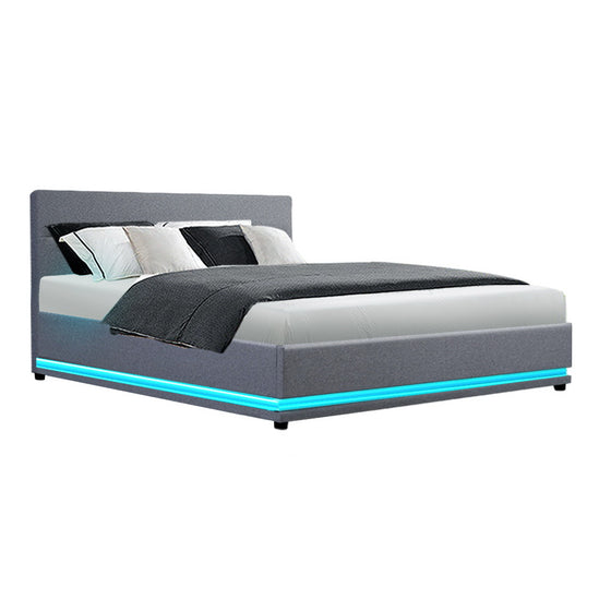 LED Bed Frame Queen Size Gas Lift Base With Storage Grey Fabric