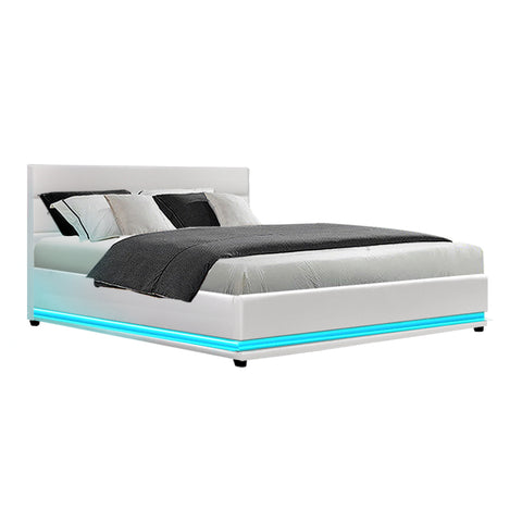 RGB LED Bed Frame Queen Size Gas Lift Base Storage White Leather
