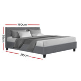Bed Frame Queen Size Base Mattress Platform Full Fabric Wooden Grey NEO