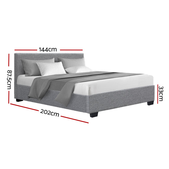 Double Size Fabric and Wood Bed Frame - Grey