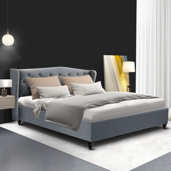 Queen Size Wooden Upholstered Bed Frame Headborad - Grey