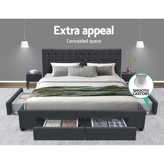 King Size Fabric Bed Frame with Drawers - Charcoal