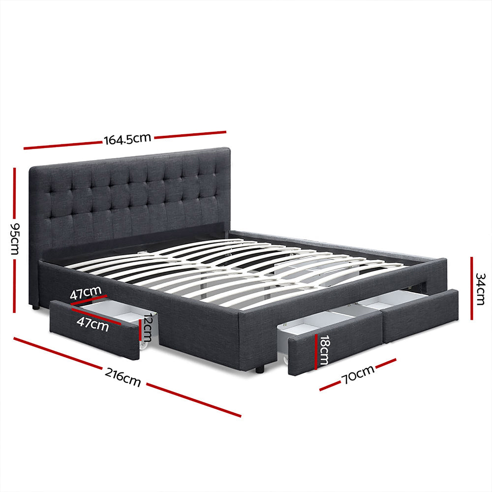Buy Queen Size Fabric Bed Frame With Drawers Charcoal