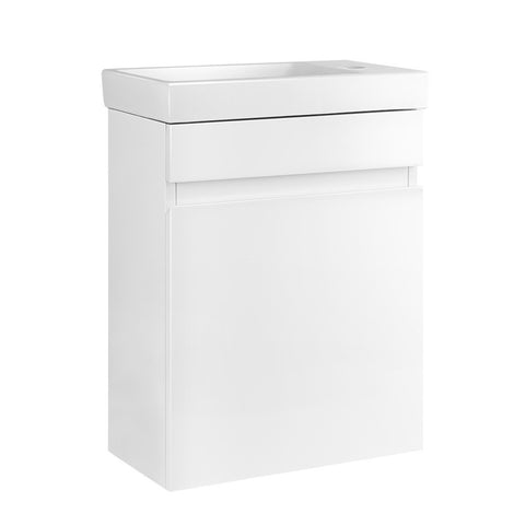 Bathroom Vanity Ceramic Basin Sink Cabinet Wall Hung White
