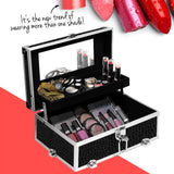 Portable Cosmetic Beauty Make Up Carry Case Box Crocodile Black