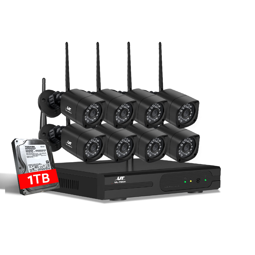 CCTV Wireless Security Camera System 8CH WIFI 8 Square Cameras Kit 1TB