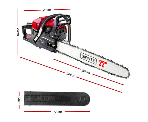 58cc Commercial Petrol Chainsaw 22 Bar E-Start Chains Saw Tree Pruning