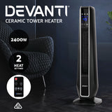 Electric Ceramic Tower Fan Heater Portable Oscillating 2400W Black