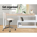 Rotary Corner Desk with Bookshelf - Brown & White