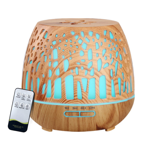 Aroma Diffuser Aromatherapy Humidifier Essential Oil Ultrasonic Cool Mist Wood Grain Remote Control 400ml