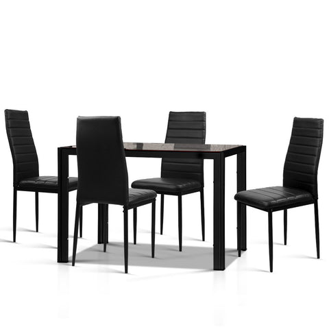 5 Piece Dining Table and Chairs Set - Black