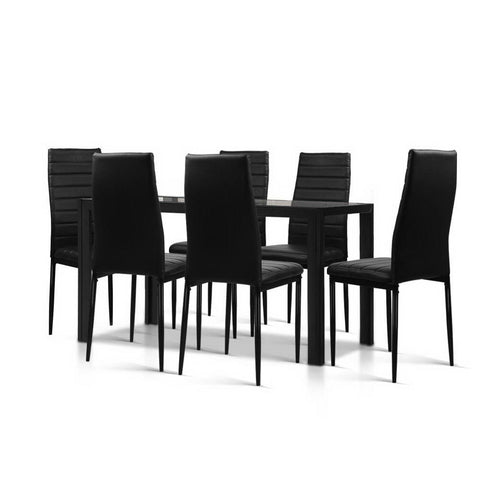 Astra 7-Piece Set Tempered Glass Dining Set Table and 6 Chairs Black