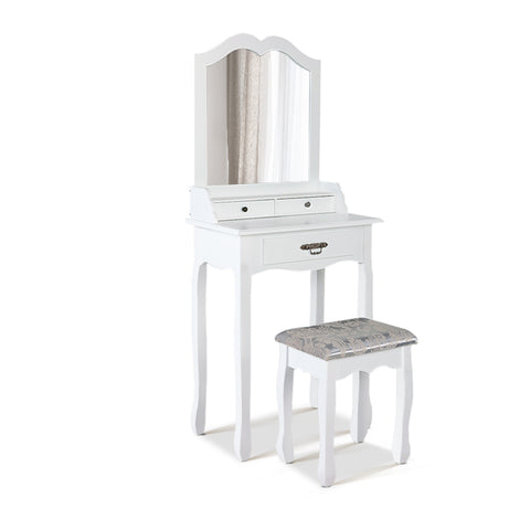 Dressing Table Mirror Drawer Makeup Cabinet White