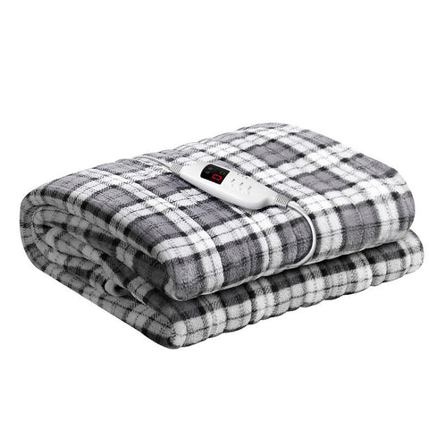 Electric Blanket Washable Heated Grey and White Checkered