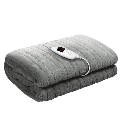 Heated Electric Throw Rug Fleece Sunggle Blanket Washable Silver