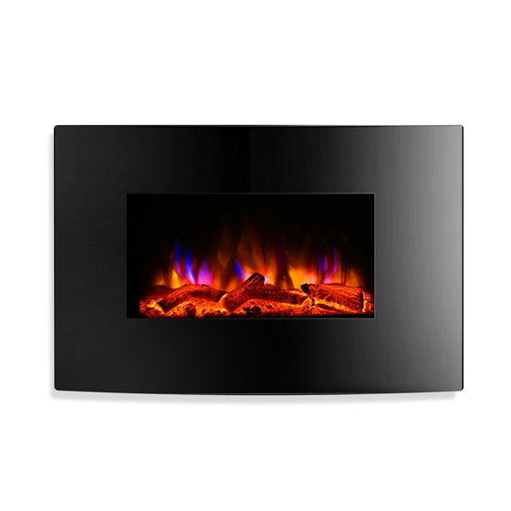 2000W Wall Mounted Electric Fireplace Fire Log Wood Heater Realistic Flame