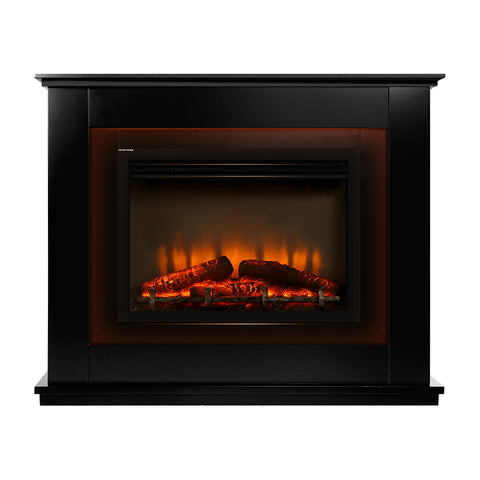 2000W Electric Fireplace Mantle Portable Fire Log Wood Heater 3D Flame Effect Black