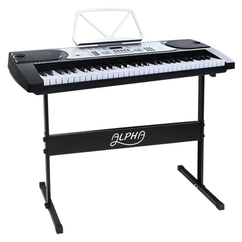 61 Keys Electronic Piano Keyboard LED Electric Silver with Music