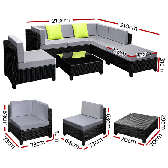 7PC Sofa Set Outdoor Furniture Lounge Setting Wicker Couches Garden Patio Pool