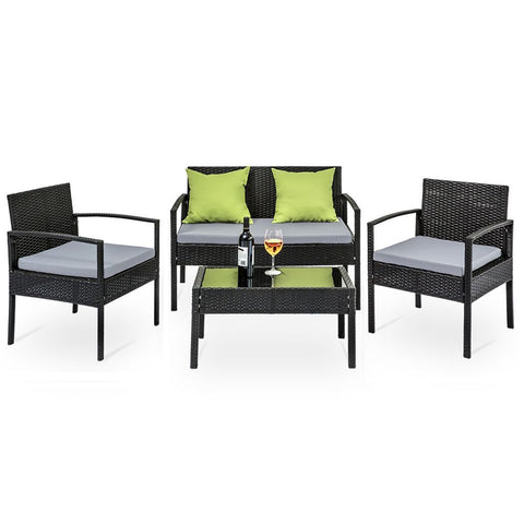 4 Seater Outdoor Furniture Lounge Wicker Cushions Black