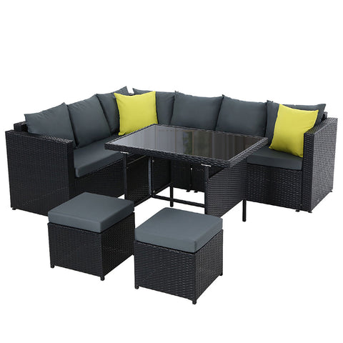 Outdoor Furniture Patio Set Dining Sofa Table Chair Lounge Wicker Garden Black