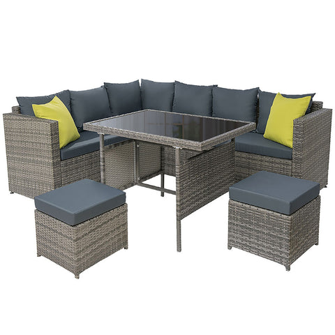 Outdoor Furniture Patio Set Dining Sofa Table Chair Lounge Garden Wicker Grey