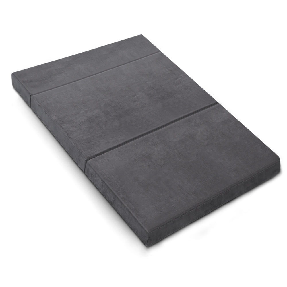 Double Size Folding Foam Mattress Portable Bed Velvet Dark Grey