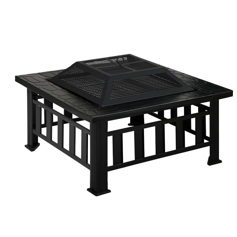 Outdoor Fire Pit BBQ Table Grill Fireplace Stone Patter