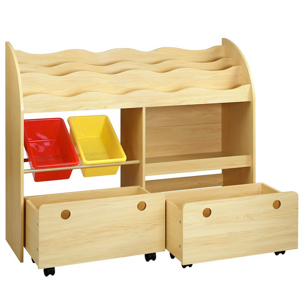 Childrens Bookshelf Toy Storage Box Organizer Display Rack Drawers with Rollers