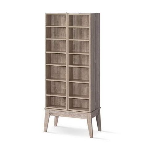 CD DVD Media Storage Display Shelf Folding Cabinet Bookshelf Bluray Rack Oak