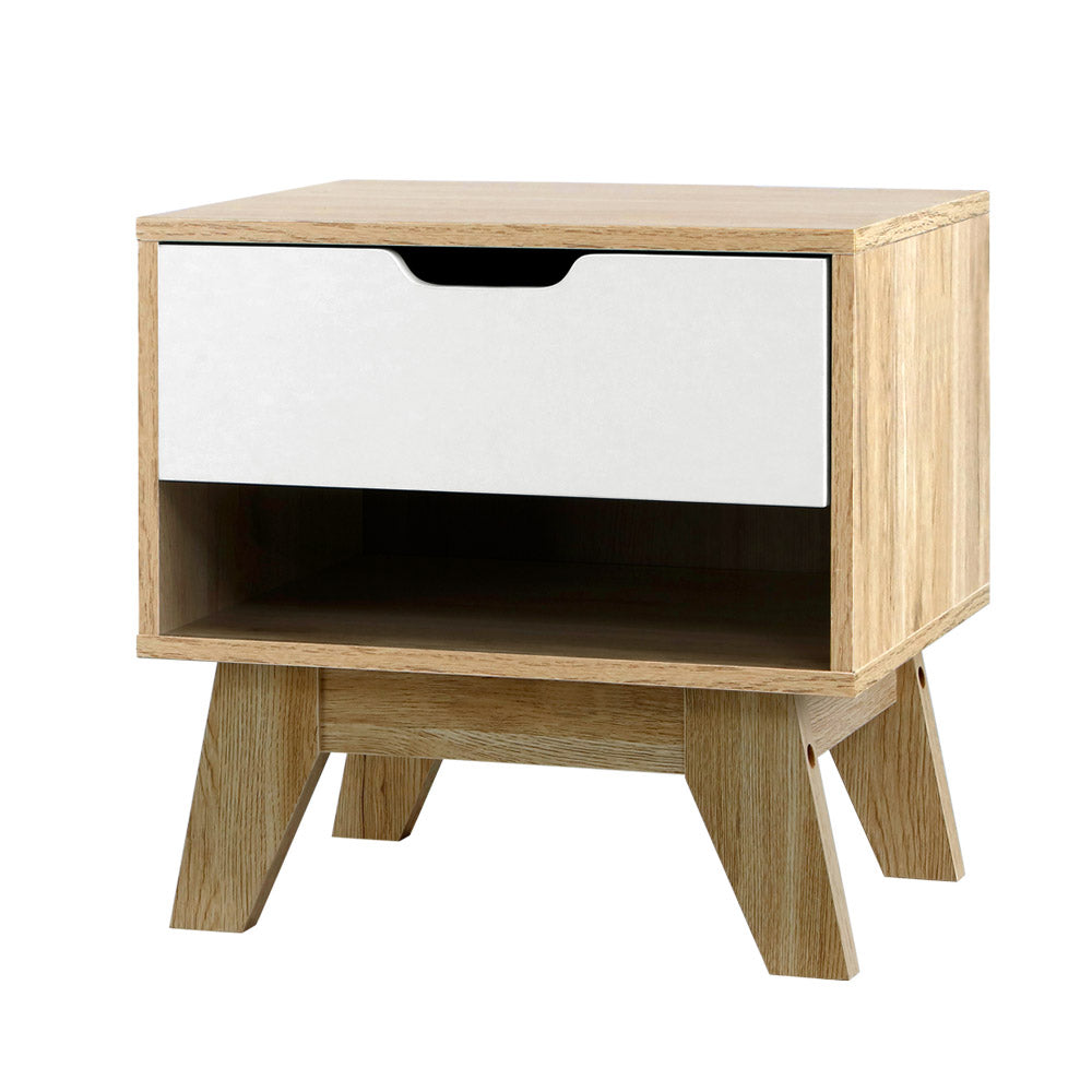 Bedside Table Drawer Nightstand Shelf Cabinet Storage Lamp Side Wooden