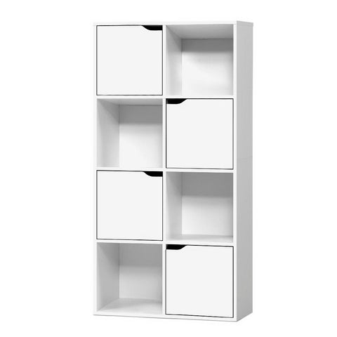 Display Shelf 8 Cube Storage 4 Door Cabinet Organiser Bookshelf Unit White