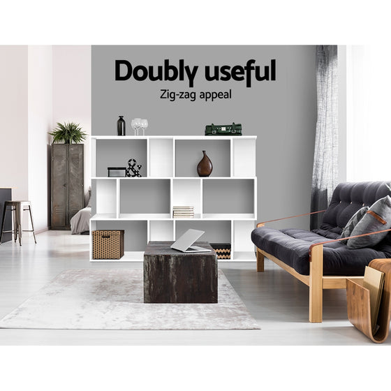3 Tier Zig Zag Bookshelf - White