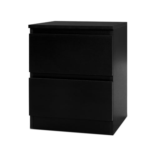 Bedside Tables Drawers Side Table Bedroom Furniture Nightstand Black Lamp