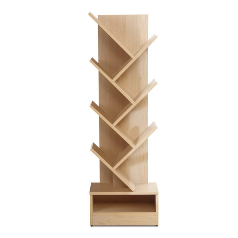 Display Shelf 7-Shelf Tree Bookshelf Book Storage Rack Bookcase Natural